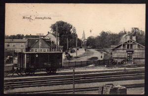 Ansichtskarte Mitau Jelgava Lettland 1916 Feldpost Anenpfporte Bahnhof Waggon