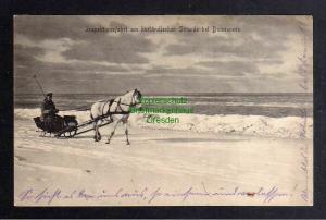Ansichtskarte Kurland Litauen 1917 Inspektionsfahrt am Strand von Domesnees Pferd mi