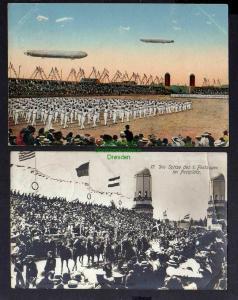 2 Ansichtskarte Turnfest Leipzig Festpostkarte No. 7 1913 Festzug