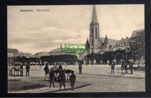 Ansichtskarte Saarlouis 1909 Marktplatz Kirche