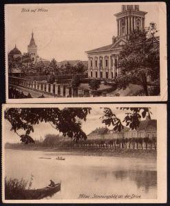 2 Ansichtskarte Mitau Jelgava Lettland 1917 Feldpost Drixe