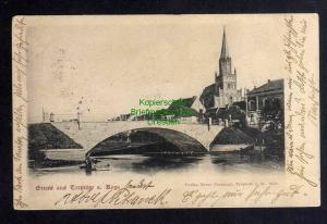 Ansichtskarte Trzebiatow Treptow an der Rega 1903 Brücke Kirche