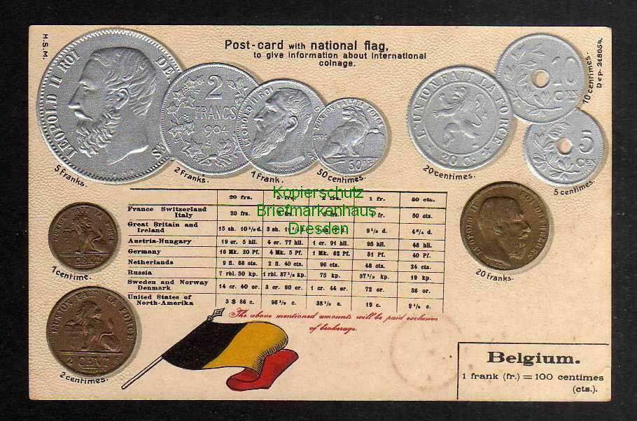 Ansichtskarte Münzprägekarte Belgien Belgium Fahne Flagge um 1910 0
