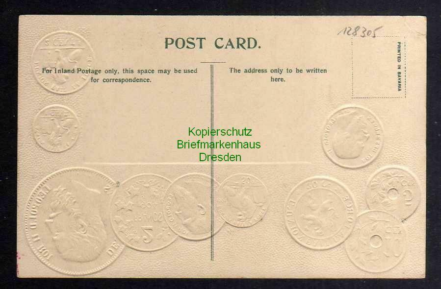 Ansichtskarte Münzprägekarte Belgien Belgium Fahne Flagge um 1910 1