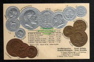 Ansichtskarte Münzprägekarte Großbritannien Great Britain um 1905 Shillinge Pfund