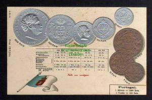 Ansichtskarte Münzprägekarte Portugal Flagge um 1900 5 - 1000 Reis