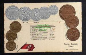 128281Ansichtskarte Münzprägekarte Tinis Tinisie Tunesien Flagge um 1900