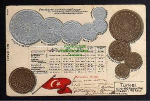 Ansichtskarte Münzprägekarte Türkei Flagge 1906 Constantinopel