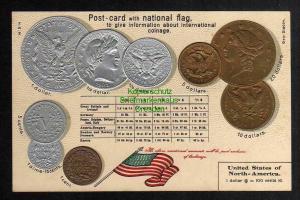 Ansichtskarte Münzprägekarte USA Flagge um 1900 United States of North America