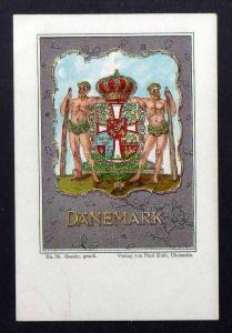 Ansichtskarte Wappenkarte Dänemark um 1900 Kunstverlag Paul Kohl Chemnitz