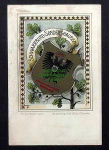Ansichtskarte Wappenkarte Schwarzburg-Sondershausen um 1900 Kunstverlag Paul Kohl