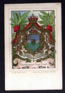 Ansichtskarte Wappenkarte Congo um 1900 Kunstverlag Paul Kohl Chemnitz