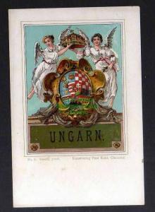 Ansichtskarte Wappenkarte Ungarn um 1900 Kunstverlag Paul Kohl Chemnitz