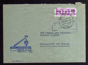 B1705 DDR ZKD 15 Kontrollnummer 1604 Berlin Brief ZKD 162 Stahl- und Montagebau