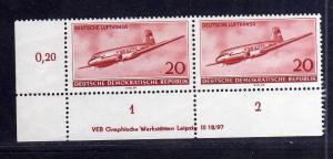 DDR 515 Lufthansa 1955 postfrisch DV Druckvermerk Variante Wolf