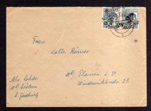 H1242 Brief Handstempel Bezirk 27 Gaschwitz 9.7.48 2x 12 Pfennig