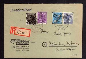 H1130 Brief Handstempel Bezirk 14 Dresden N6 8 und 12 Doppelbrief Einschreiben 5