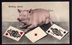 Ansichtskarte Boldog ujevet Glückliches neues Jahr 1907 Glücksschwein Karten Spielkar