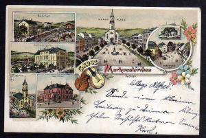 Ansichtskarte Markneukirchen um 1900 super Litho Bahnhof Schützenhaus Postamt Kirche