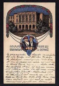 Ansichtskarte Chemnitz 1908 Jubiläums Feier Realgymnasium Künstlerkarte