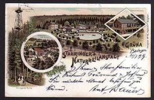 Ansichtskarte Grüna Sachsen Litho 1899 Restaurant Stahringers Naturheilanstalt