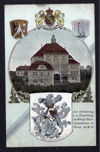 Ansichtskarte Borna 1908 Einweihung Kgl. Gymnasium