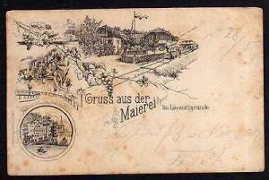 Ansichtskarte Vorläufer Maierei im Lössnitzgrunde 1893 Bahnhof Lok