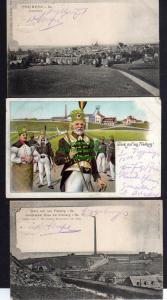 3 Ansichtskarte Freiberg Halsbrücker Esse 1901 Glück Auf ! Litho Bergmann Tracht Pan
