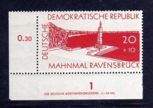 DDR 567 DV Druckvermerk ** 20 + 10 Pfg. Ravensbrück Aufbau nationaler Gedenk