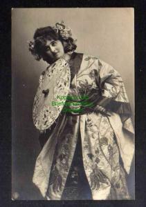 Ansichtskarte Lübek 1907 Frau in japanischer Kleidung Schirm Soldatenbrief Vignette
