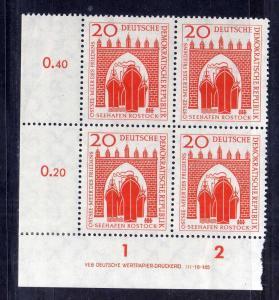 DDR 1958 634 DV Druckvermerk ** 20 Pfg. unten ndgz. Seehafen Rostock