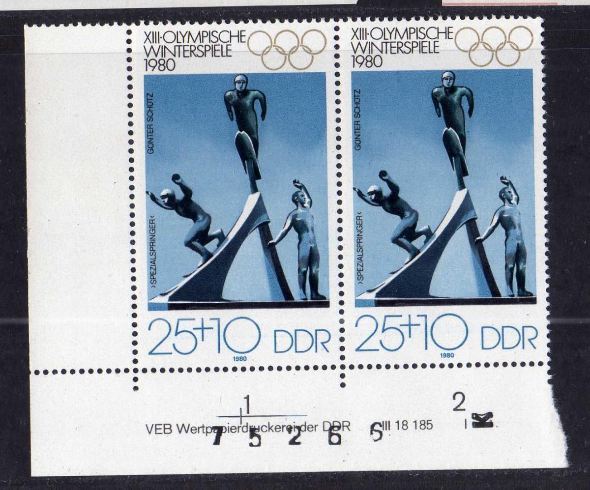 DDR 1980 2480 DV I ** Olympische Winterspiele Lake Placid 0