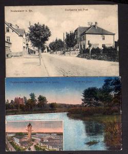 2 Ansichtskarte Neuhammer am Queis Schlesien Dorfpartie Post um 1915