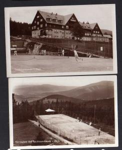 2 Ansichtskarte Teichmannbaude Riesengebirge Tennisplätze 1943 Tennis Sport
