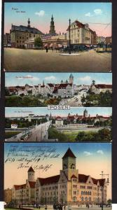 3 Ansichtskarte Posen Alter Markt 1915 Theaterbrücke Schloßbrücke Oberpostdirektion