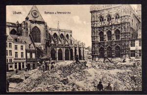 Ansichtskarte Löwen Leuven Flandern 1915 Rathaus Peterskirche Weltkrieg Schutt von R