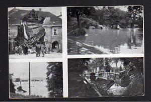 Ansichtskarte Glatz 1938 Hochwasser Katastrophe Roßmarkt eingestürztes Haus umgestür