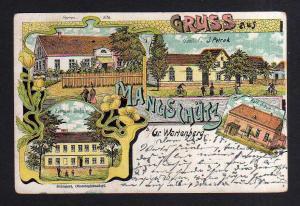 Ansichtskarte Mangschütz Kr. Groß Wartenberg Sycow Litho um 1900 Gasthof Ev. Schule