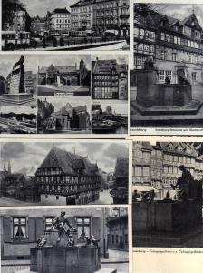 6 Ansichtskarte Braunschweig Alte Waage Hafen Gildehaus Dom Weihestätte Mumme Haus E