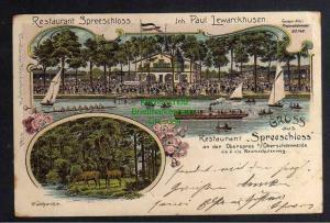 Ansichtskarte Berlin Oberschöneweide 1901 Restaurant Seeschloss Litho