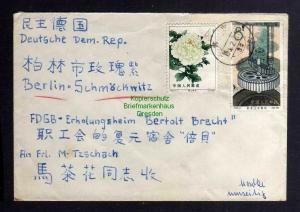 B3058 China 1964 Brief nach Berlin Schmöckwitz + Ulbricht in Leipzig als Weiterf