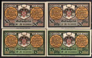 Notgeld Ellrich Harz 4 Scheine Ellricher Gips 1921