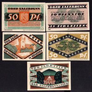 Notgeld Ober Salzbrunn Oberschlesien 5 Scheine 700 Jahr Feier 1921
