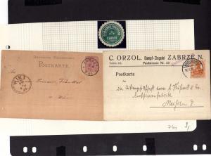 V741 2 Postkarten Zabrze 1881 1916 Hindenburg O.S. Siegelmarke Gemeinde Vorstand