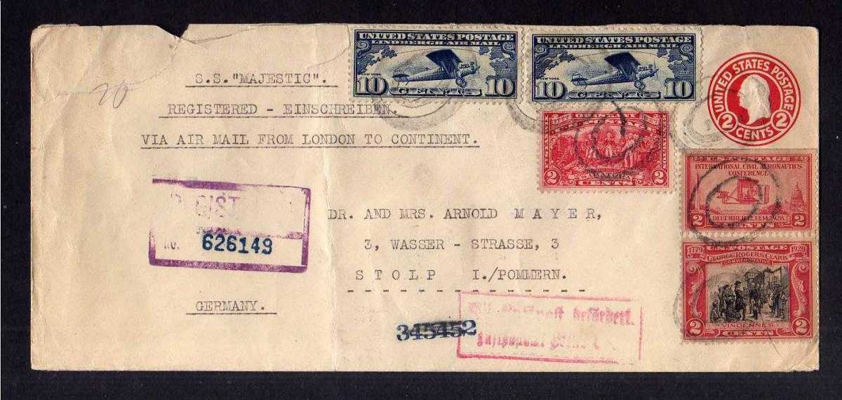 S195 Brief USA 1929 Luftpost Airmail London Germany Stolp Pommern 0