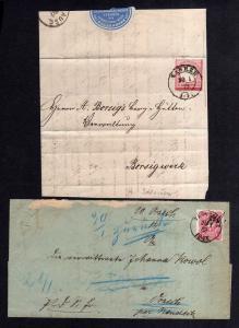 V738 2x Faltbriefhülle Tarnowitz 1882 Zabrze 1873 Neudeck