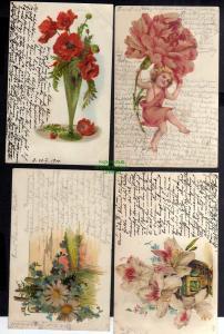 4 Ansichtskarte Blumen Glitzerauflage 1900 Künstlerkarte Mohn Lilie
