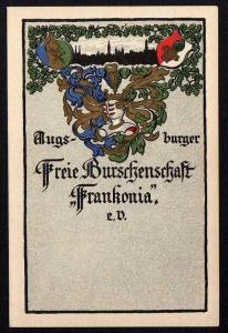 Ansichtskarte Augsburger Freie Burschenschaft Frankonia e. V