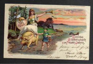 Ansichtskarte Halt gegen Licht Herzlichen Glückwunsch zum neuen Jahre 1900 530
