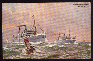 Ansichtskarte Woermann Linie Deutsches Schutzgebiet 1911 undeutlicher Seepoststempel